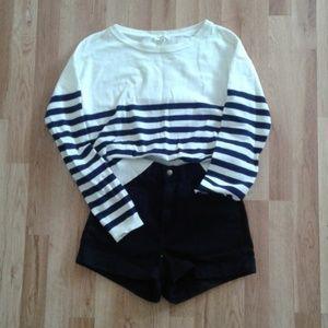 NWOT Honey Punch Navy Striped Wide Crop Sweater